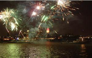 Celebration View onboard HQS Wellington - New Year's Eve 2013